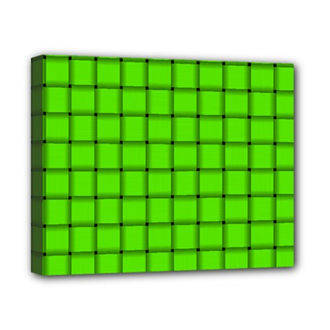 Bright Green Weave Canvas 10  X 8  (framed) by BestCustomGiftsForYou