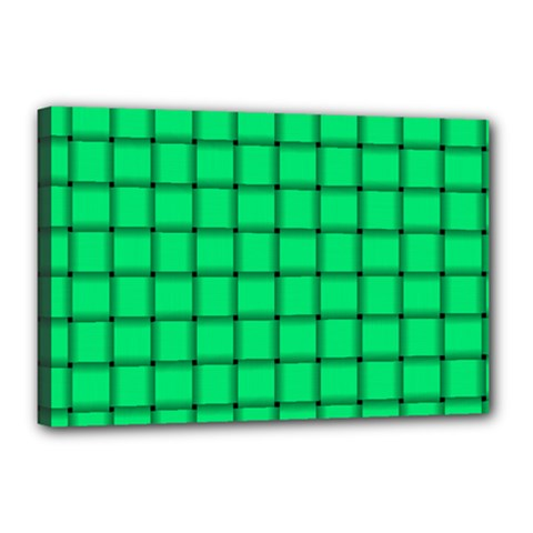 Spring Green Weave Canvas 18  X 12  (framed) by BestCustomGiftsForYou
