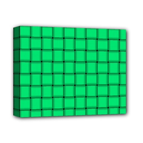 Spring Green Weave Deluxe Canvas 14  X 11  (framed) by BestCustomGiftsForYou