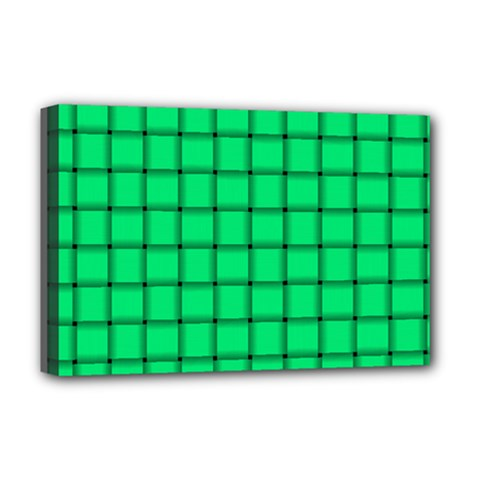 Spring Green Weave Deluxe Canvas 18  X 12  (framed) by BestCustomGiftsForYou
