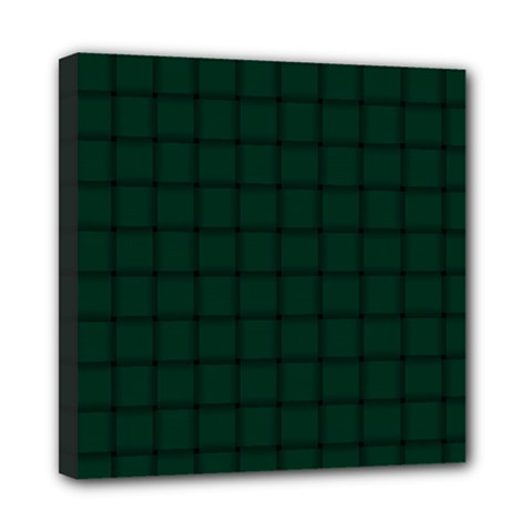 Dark Green Weave Mini Canvas 8  X 8  (framed)