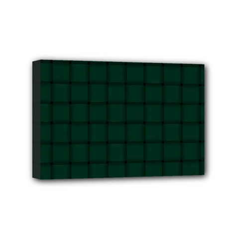 Dark Green Weave Mini Canvas 6  X 4  (framed) by BestCustomGiftsForYou