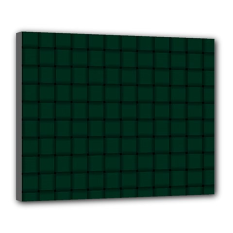 Dark Green Weave Canvas 20  X 16  (framed) by BestCustomGiftsForYou