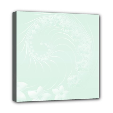 Pastel Green Abstract Flowers Mini Canvas 8  X 8  (framed) by BestCustomGiftsForYou