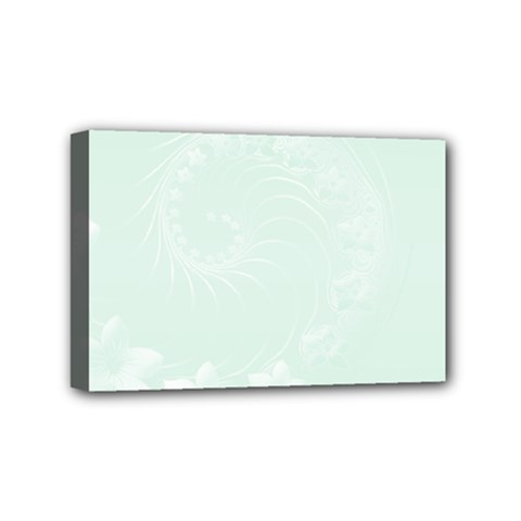Pastel Green Abstract Flowers Mini Canvas 6  x 4  (Framed)