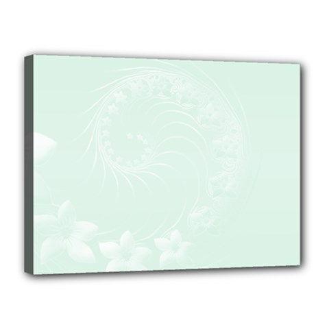 Pastel Green Abstract Flowers Canvas 16  x 12  (Framed)