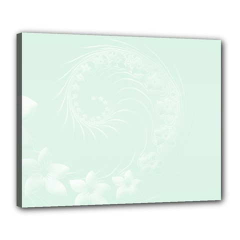 Pastel Green Abstract Flowers Canvas 20  X 16  (framed) by BestCustomGiftsForYou