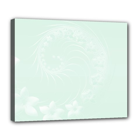 Pastel Green Abstract Flowers Deluxe Canvas 24  x 20  (Framed)