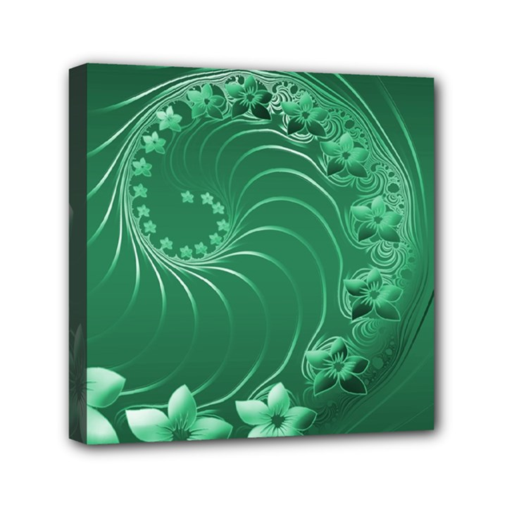 Green Abstract Flowers Mini Canvas 6  x 6  (Framed)
