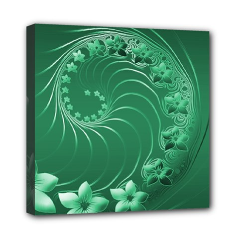 Green Abstract Flowers Mini Canvas 8  X 8  (framed) by BestCustomGiftsForYou