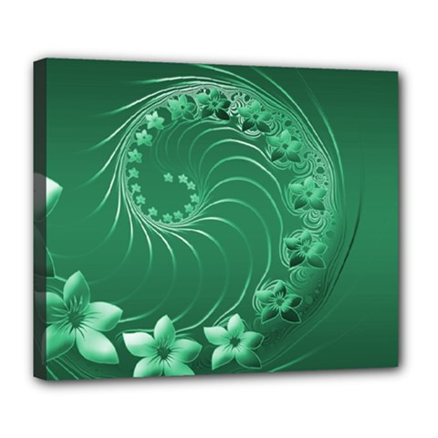 Green Abstract Flowers Deluxe Canvas 24  X 20  (framed) by BestCustomGiftsForYou