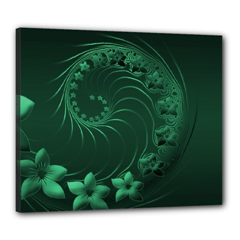 Dark Green Abstract Flowers Canvas 24  x 20  (Framed) by BestCustomGiftsForYou