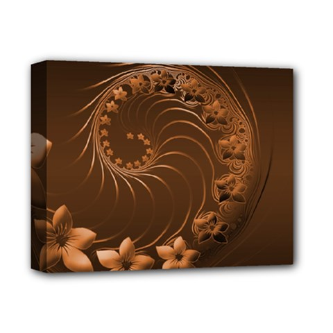Dark Brown Abstract Flowers Deluxe Canvas 14  X 11  (framed) by BestCustomGiftsForYou