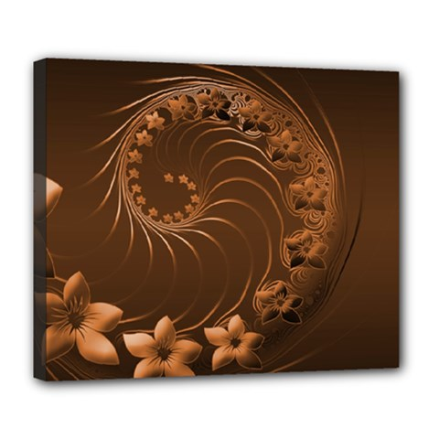 Dark Brown Abstract Flowers Deluxe Canvas 24  X 20  (framed) by BestCustomGiftsForYou