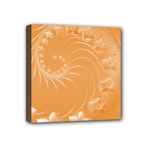 Orange Abstract Flowers Mini Canvas 4  X 4  (framed) by BestCustomGiftsForYou