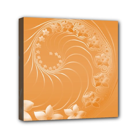 Orange Abstract Flowers Mini Canvas 6  x 6  (Framed)