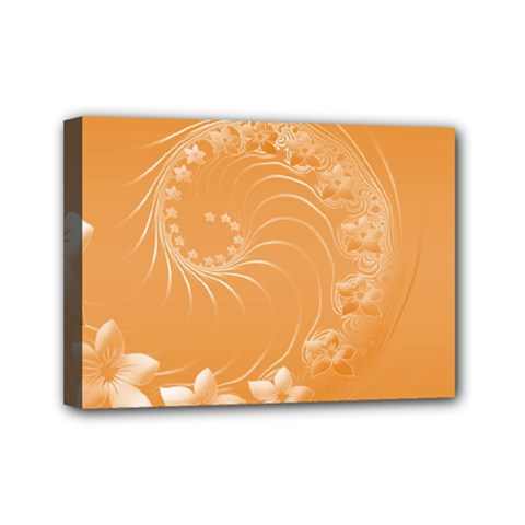 Orange Abstract Flowers Mini Canvas 7  X 5  (framed) by BestCustomGiftsForYou