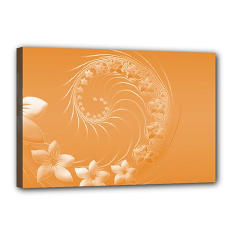 Orange Abstract Flowers Canvas 18  X 12  (framed) by BestCustomGiftsForYou