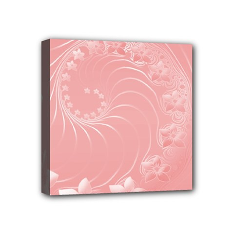 Pink Abstract Flowers Mini Canvas 4  X 4  (framed) by BestCustomGiftsForYou