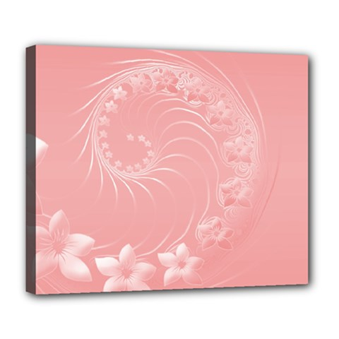 Pink Abstract Flowers Deluxe Canvas 24  X 20  (framed) by BestCustomGiftsForYou