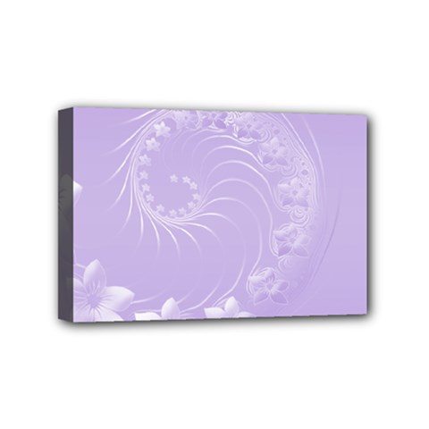 Light Violet Abstract Flowers Mini Canvas 6  X 4  (framed) by BestCustomGiftsForYou