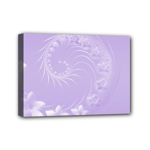 Light Violet Abstract Flowers Mini Canvas 7  X 5  (framed) by BestCustomGiftsForYou