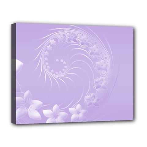 Light Violet Abstract Flowers Canvas 14  X 11  (framed) by BestCustomGiftsForYou