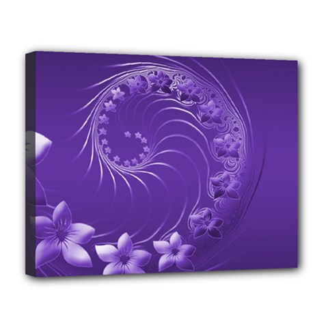 Violet Abstract Flowers Canvas 14  x 11  (Framed)