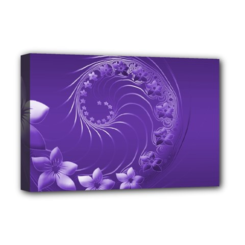 Violet Abstract Flowers Deluxe Canvas 18  X 12  (framed) by BestCustomGiftsForYou