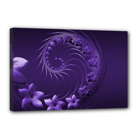 Dark Violet Abstract Flowers Canvas 18  X 12  (framed) by BestCustomGiftsForYou