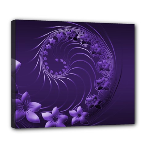 Dark Violet Abstract Flowers Deluxe Canvas 24  X 20  (framed) by BestCustomGiftsForYou