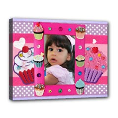 cupcake frame - Canvas 14  x 11  (Stretched)