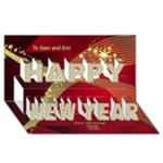 Red New Year 3D Card - Happy New Year 3D Greeting Card (8x4)