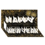Marble Gold happy New Year 3D card - Happy New Year 3D Greeting Card (8x4)