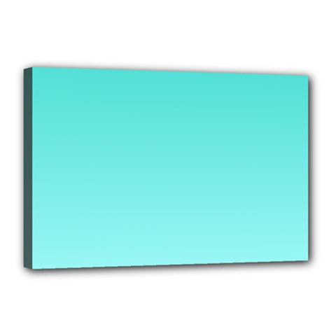 Turquoise To Celeste Gradient Canvas 18  X 12  (framed)