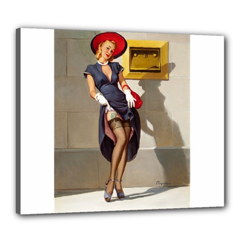 Retro Pin Up Girl Canvas 24  X 20  (framed) by PinUpGallery