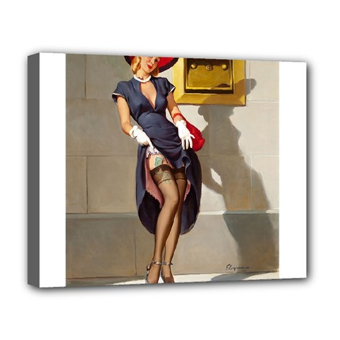 Retro Pin Up Girl Deluxe Canvas 20  X 16  (framed) by PinUpGallery