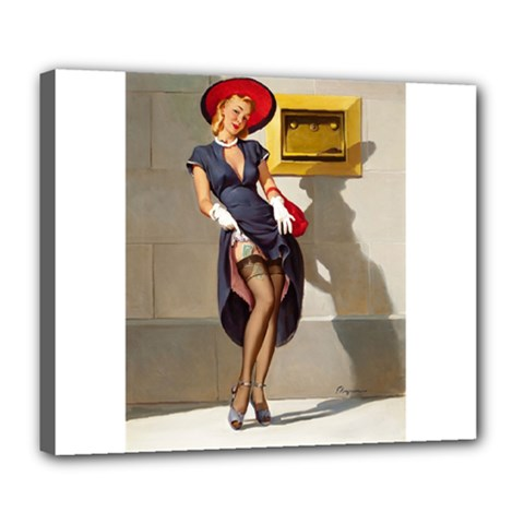 Retro Pin Up Girl Deluxe Canvas 24  X 20  (framed) by PinUpGallery