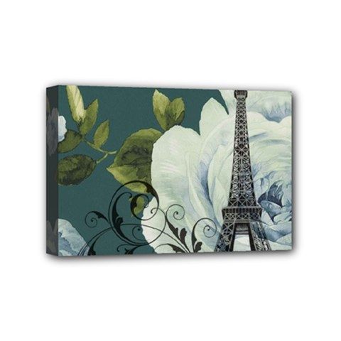 Blue Roses Vintage Paris Eiffel Tower Floral Fashion Decor Mini Canvas 6  X 4  (framed) by chicelegantboutique