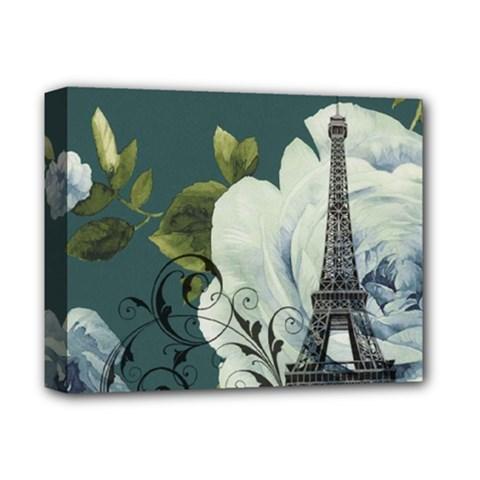 Blue Roses Vintage Paris Eiffel Tower Floral Fashion Decor Deluxe Canvas 14  X 11  (framed)