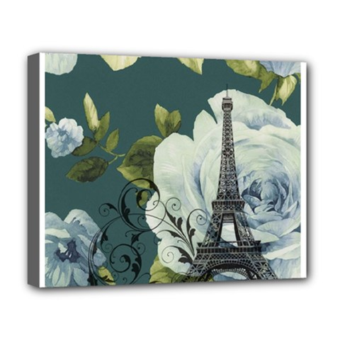 Blue Roses Vintage Paris Eiffel Tower Floral Fashion Decor Deluxe Canvas 20  X 16  (framed) by chicelegantboutique
