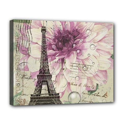 Purple Floral Vintage Paris Eiffel Tower Art Canvas 14  X 11  (framed) by chicelegantboutique