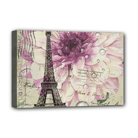 Purple Floral Vintage Paris Eiffel Tower Art Deluxe Canvas 18  X 12  (framed) by chicelegantboutique