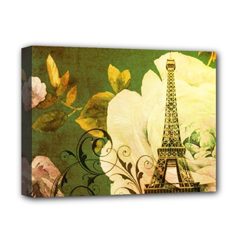 Floral Eiffel Tower Vintage French Paris Deluxe Canvas 16  X 12  (framed)  by chicelegantboutique