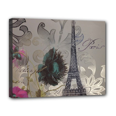 Floral Vintage Paris Eiffel Tower Art Canvas 14  X 11  (framed) by chicelegantboutique