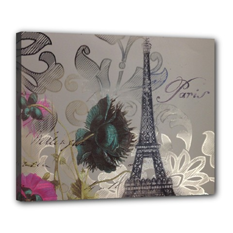 Floral Vintage Paris Eiffel Tower Art Canvas 20  X 16  (framed) by chicelegantboutique