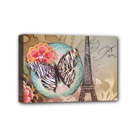 Fuschia Flowers Butterfly Eiffel Tower Vintage Paris Fashion Mini Canvas 6  X 4  (framed)