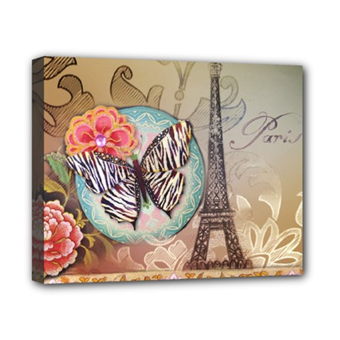 Fuschia Flowers Butterfly Eiffel Tower Vintage Paris Fashion Canvas 10  X 8  (framed) by chicelegantboutique