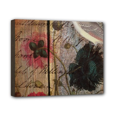 Vintage Bird Poppy Flower Botanical Art Canvas 10  X 8  (framed) by chicelegantboutique