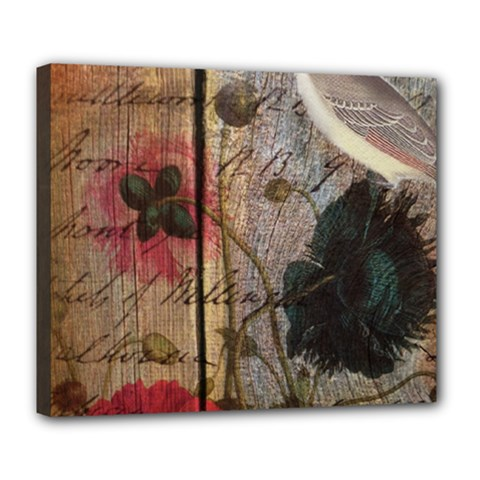 Vintage Bird Poppy Flower Botanical Art Deluxe Canvas 24  X 20  (framed) by chicelegantboutique